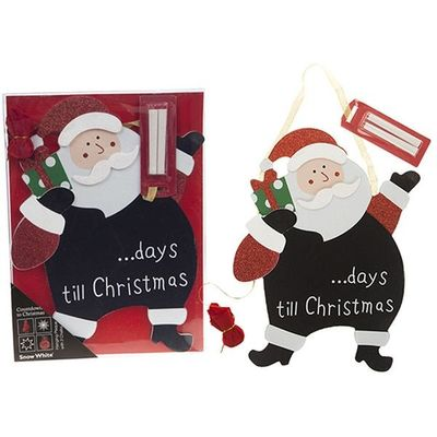 Countdown To Christmas Hanging Plaque W/2 Chalk Santa Design