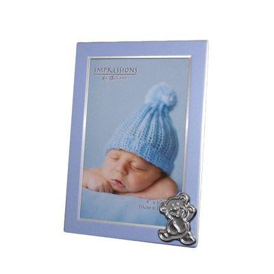 Juliana Aluminium Baby Frame with Bear Icon - Blue Boy