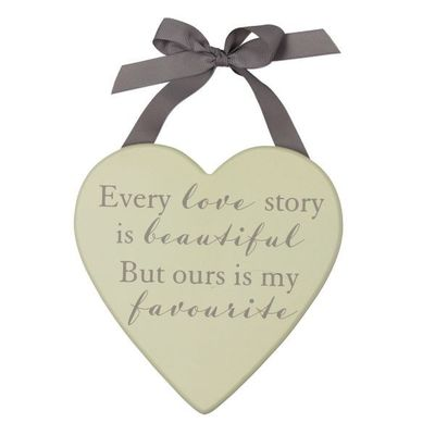 Amore Mdf Heart Plaque 20cm - Love Story