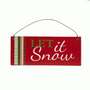 Christmas Hanging Wooden Wall Plaque - Let It Snow 20cm x 8cm