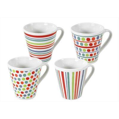 Mugs Spot Stripe 4 Assorted