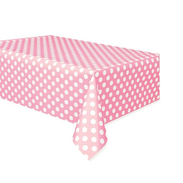 Lovely Pink Polka Dot Plastic Tablecover 54x108cm
