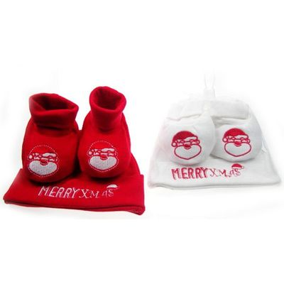 Merry Christmas hat and booties set by Soft Touch