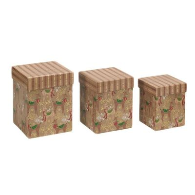 Christmas Gift Box - Reindeer Nest Of 3 Tall Sq