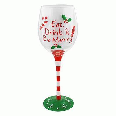 Christmas Eat, Drink and Be Merry Boxed Wine Glass