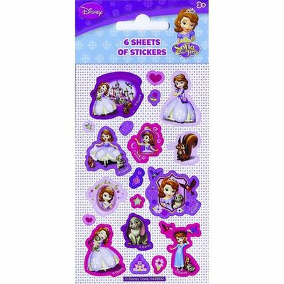 Party 6 Sheets Sofia The First Stickers