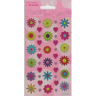 Sparkle Flowers And Hearts  Stickers