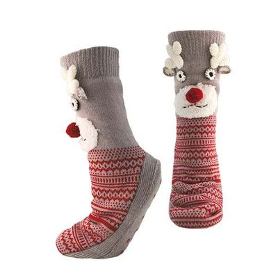 Ladies Christmas Reindeer Socks With Grip