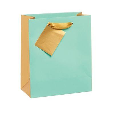 Gift Bag Aqua And Gold  Design  Small