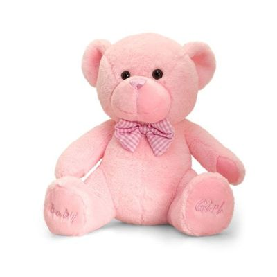 25cm Baby Girl Bear Soft Plush By Keel Toys