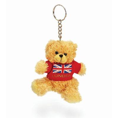 7cm Teddy Cares London T-shirt Red Soft Plush By Keel Toys - Souvenir