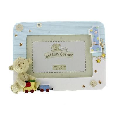 Button Corner Resin Photo Frame 1st Birthday Blue 6x4inch
