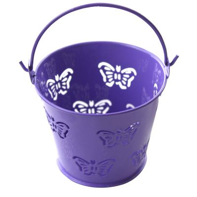 Purple Butterfly Metal Favour Pail