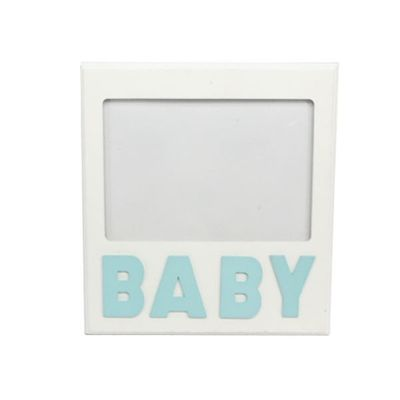 White Blue Wood Baby Picture Frame