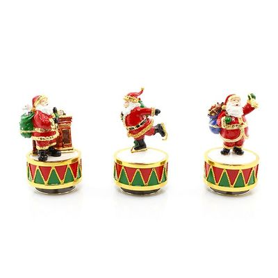 Christmas Santa Enamelled Musical Figurine Collectibles set of 3  By Leonardo Collection