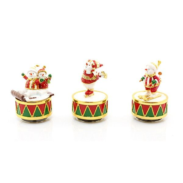 Christmas Snowman Enamelled Musical figurine Collectibles 3 designs  By Leonardo Collection