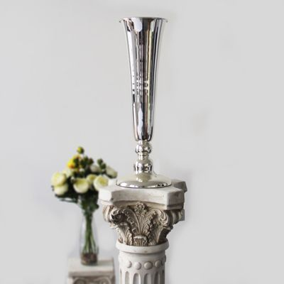 50cm Silver Plated Conic Vase