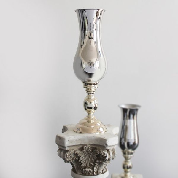 51cm Silver Plated Shaped Vase