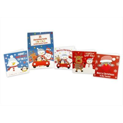 Pack Of 25 Kids Christmas Cards School Pack