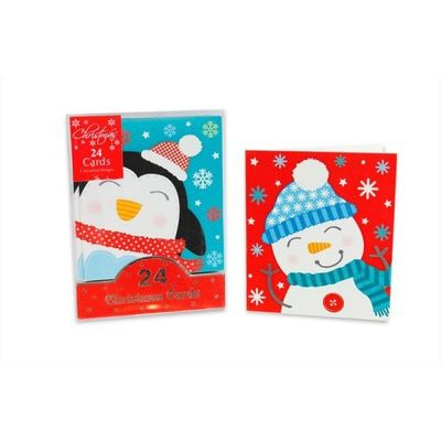 Mini Cute Cards Snowman & Penguin 24pk