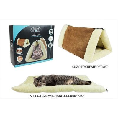2 In 1 Cat Tunnel Bed Cave And Mat Fleece Mat