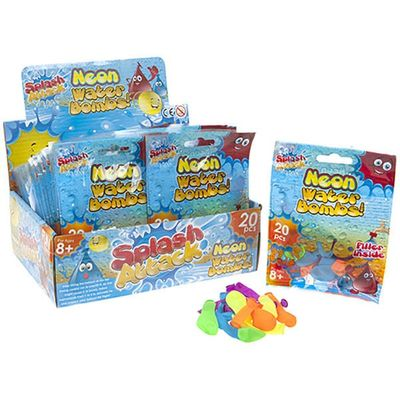20pc Neon Water Bombs In Printed Bag