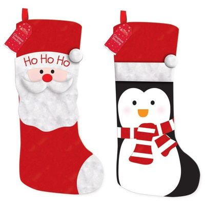 Penguin & Santa Kids Christmas Stocking - 2 Designs