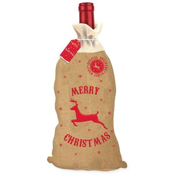 Hessian Christmas Bottle Bag