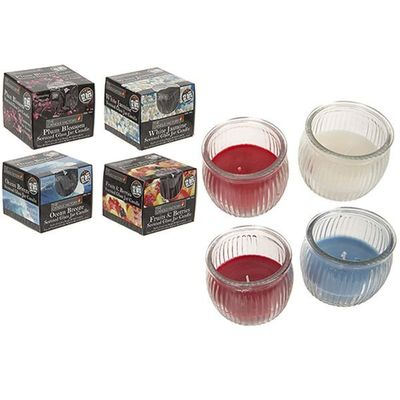Ribbed Glass Jar W assorted Colour & Fragrance Candle In Open Box