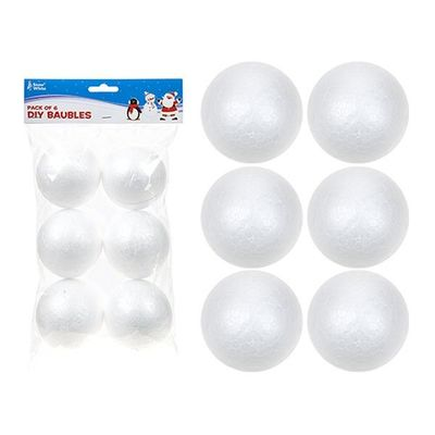Pack Of 6 6.6cm Polyfoam Diy Baubles