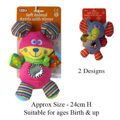 Soft Animal With Mirror (2 Assorted)